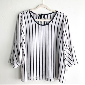 LAS Striped Flutter Sleeve Black & White Blouse